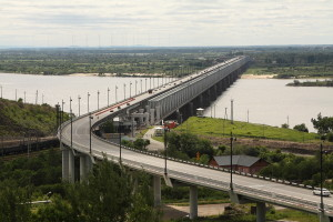 Мост через реку Амур у Хабаровска. Вид с башни Инфиделя